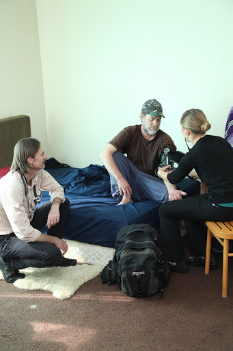 Figure 20.  The team makes a house call to a formerly homeless patient living in supportive housing.  Taken by Margaret Molloy.
